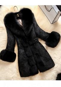 Cappotto collo di pelliccia drappeggiato manica lunga elegante spesso nero
