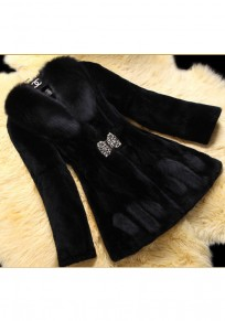 Black Pockets Bow Rhinestone Fur Collar Long Sleeve Elegant Thick Coat