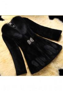 Mi-long manteau en fourrure strass manches longues élégant chaud femme hiver noir