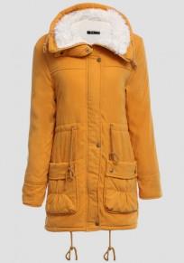 Yellow Turndown Collar Pockets Drawstring Zipper Casual Winter Warm Coat
