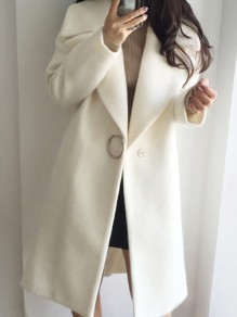 White Pockets Turndown Collar V-neck Long Sleeve Cardigan Coat