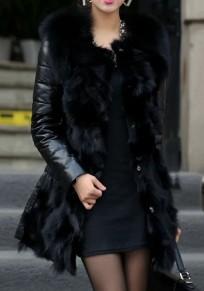 Black Patchwork Faux Fur Turndown Collar Single Breasted Pockets Elegant Cardigan Coat