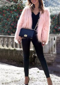 Rosa Faux Fur Langarm Elegante Strassenmode Cardigan Mantel