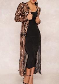 Black Patchwork Grenadine Sequin Long Sleeve Fashion Coat
