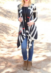 Black-White Plaid Pattern Irregular Draped Plus Size Casual Cardigan Coat