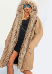 Khaki Patchwork Irregular Pockets Hooded Long Sleeve Faux Fur Thick Coat