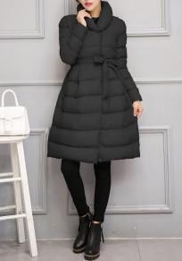 Manteau mi-longue patineuse doudoune ceinture élégant manches longues femme hiver noir