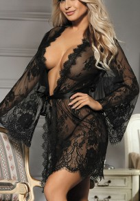 Black Lace 2-in-1 Long Sleeve Fashion Coat