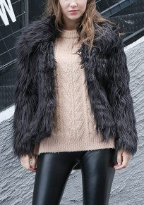 Black Faux Fur Turndown Collar Long Sleeve Fashion Coat
