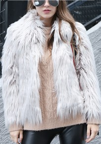White Faux Fur Turndown Collar Long Sleeve Fashion Coat
