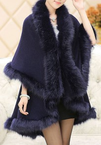 Navy Blue Patchwork Fur 3/4 Sleeve Elegant Casual Cardigan Cape