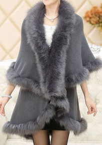Grey Patchwork Fur 3/4 Sleeve Elegant Casual Cardigan Cape