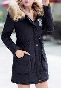 Black Patchwork Epaulet Drawstring Pockets Hooded Fur Collar Casual Cardigan Coat