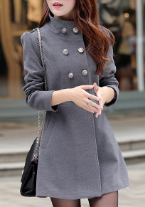 Grey Buttons Pockets Turndown Collar Elegant Cardigan Wool Coats