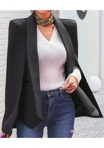 Schwarz Flickwerk Taschen Cape Unregelmäßigen Umlegekragen Mode Oberbekleidung