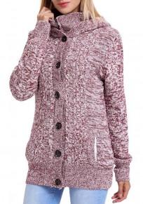 Rose Carmine Single Breasted Zipper Long Sleeve Casual Cardigan Sweater Coat