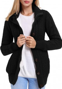 Black Single Breasted Zipper Long Sleeve Casual Cardigan Sweater Coat