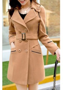 Camel Pockets Buttons Belt Turndown Collar Elegant Going out Cardigan Coat