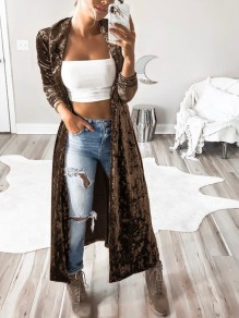 Coffee Plain Turndown Collar Long Sleeve Fashion Velvet Trench Coat