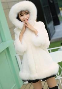 Weiß Faux Pelz Kragen mit Kapuze Langarm Winter Warme Elegant Pelzmantel Fellmantel Damen