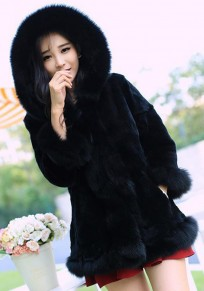 Black Patchwork Irregular Hooded 3/4 Sleeve Fashion Fur Coat