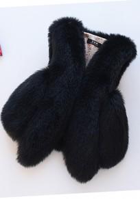 Manteau en fausse fourrure v-cou sans manches hiver élégant femme veste noir