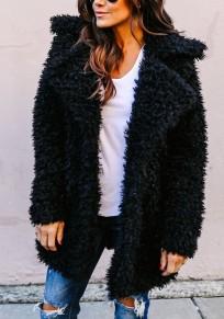 Manteau mi-longue teddy fausse fourrure col à revers manches longues femme hiver mode noir