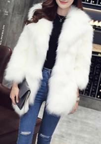 Weiß Langarm Mode Faux Fake Fur Pelzmantel Felljacke Lang Damen Winter