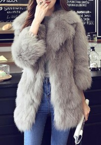 Grey Faux Fur Pockets Turndown Collar Elegant Going Out Cardigan Coat