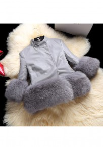 Grey Fur Patchwork Leather Band Collar Long Sleeve Fashion Coat
