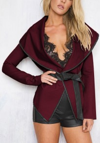 Burgundy PU Leather Belt Bow Turndown Collar Long Sleeve Fashion Coat