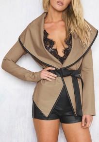 Manteau en simili cuir ceinture irrégulière cape col manches longues décontracté femme khaki