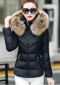 Black Plain Fur Pockets Hooded Zipper Long Sleeve Fashion Coat