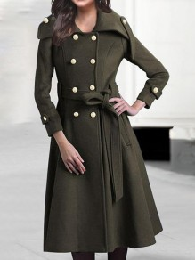 Army Green Pockets Double Breasted Belt Long Sleeve Military Peacoat Wool Coat