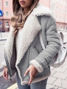 Grey Fur Lapel Deerskin Lamb Turndown Collar Warm Trendy Fur Coat
