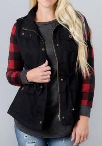 Schwarz Taschen Kordelzug Reißverschluss Einreihig Ärmellos Mode Mantel Damen Jacke Weste