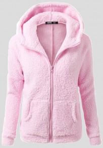 Rosa Taschen Reißverschluss mit Kapuze Niedlich Teddy Faux Wolle Pullover Strickjacke Mantel
