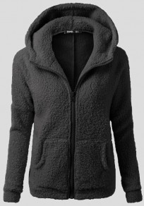 Black Pockets Zipper Hooded Cute Teddy Faux Wool Sweater Cardigan Coat