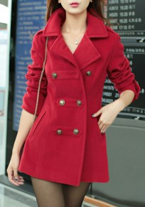 Red Pockets Turndown Collar V-neck Double Breasted Long Sleeve Cardigan Coat