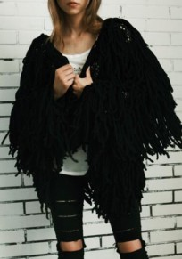 Black Cut Out Tassel V-neck Going out Casual Cardigan Coat