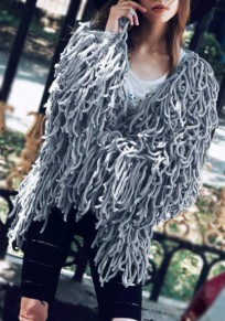 Grey Cut Out Tassel V-neck Going out Casual Cardigan Coat