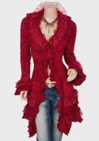 Red Lace Ruffle V-neck Single Breasted Long Sleeve Cardigan Coat