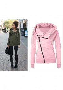 Rosa Seitliche Reißverschluss Mit Kapuze Taschen Tunnelzug Cowl Neck Langarm Sweatshirt Damen Mode