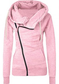 Pink Pockets Drawstring Turndown Collar Zipper Fashion Coat
