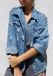 Hellblaue Taschen V-Ausschnitt Einreihig Langarm Oversize Jeansjacke Damen Mantel Günstig