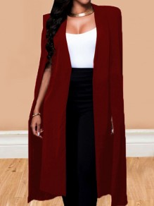 Burgundy Irregular Long Sleeve Fashion Office Worker Cape Coat