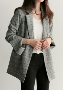Grey Plaid Sashes Pockets Turndown Collar Office Worker/Daily Cardigan Coat