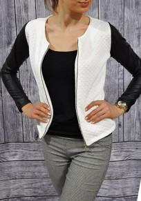 Veste splice faux cuir col rond ouverte manches longues femme mode manteau blanc