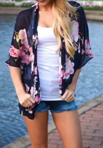 Navy Blue Floral Print Irregular Fashion Chiffon Coat