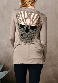 Grey Cut Out Backless Skull Long Sleeve Fashion Coat